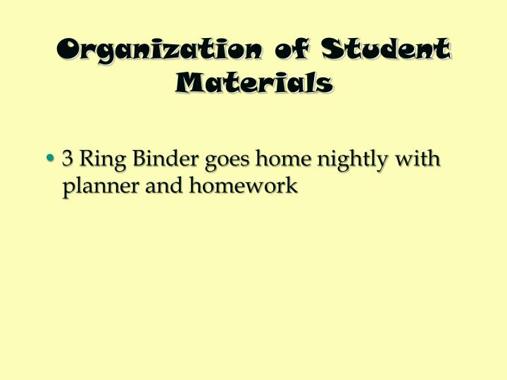 Organization of Student Materials