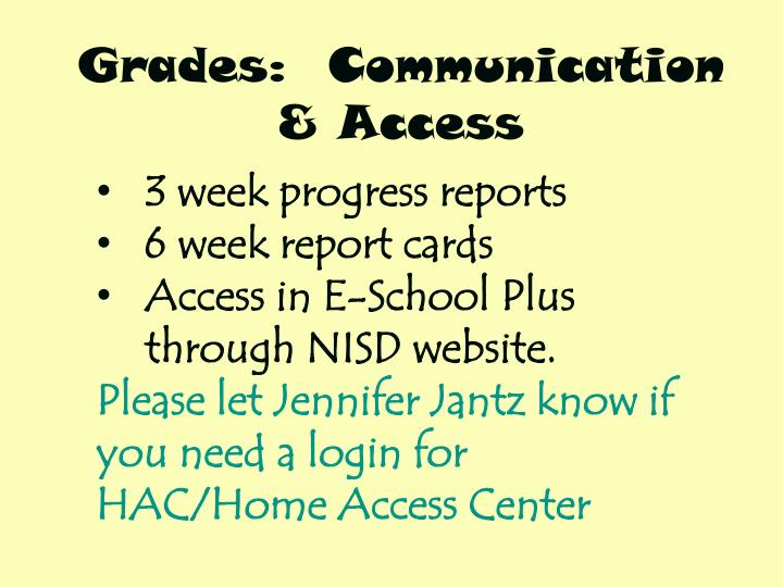 Grades:  Communication & Access