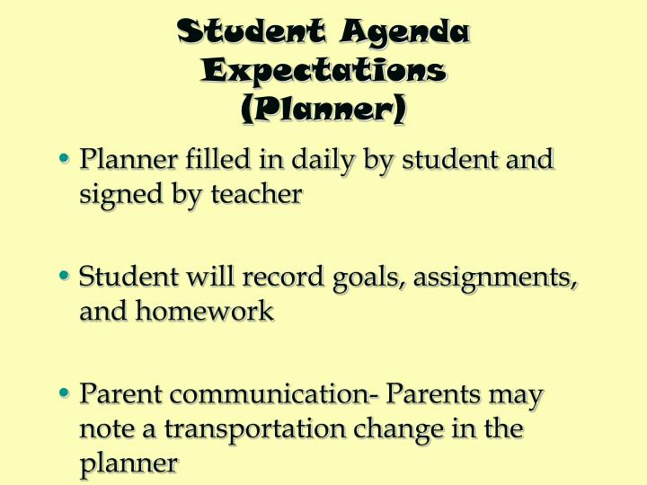 Student Agenda Expectations
