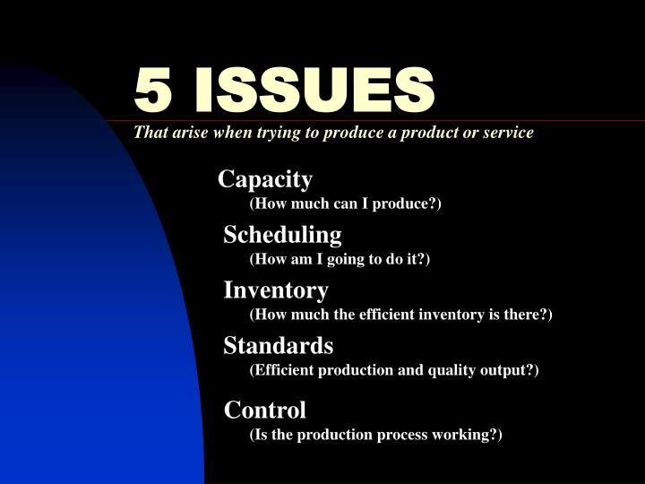 5 issues that arise when trying to produce a product or service