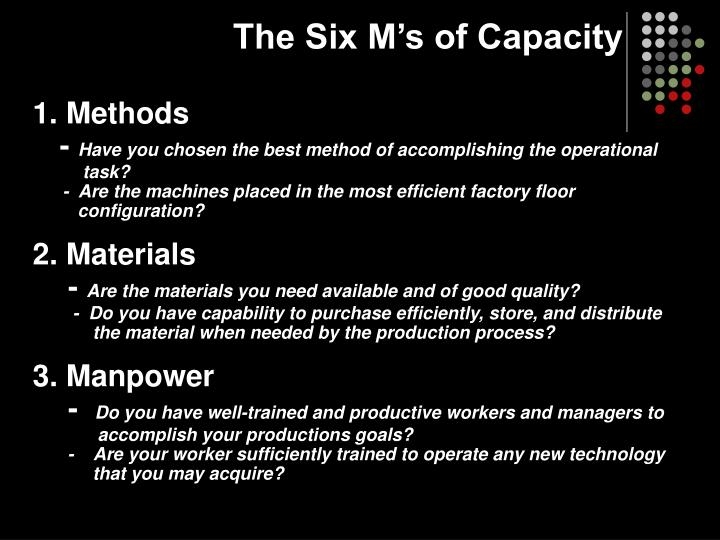 The six m s of capacity