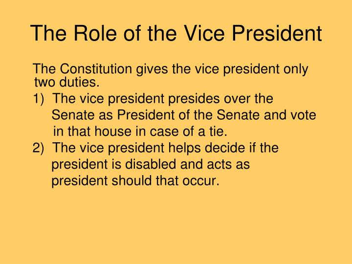the vice president and must meet same qualifications