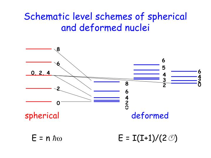 Schematic level schemes of spherical and deformed nuclei