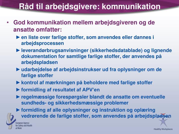 Råd til arbejdsgivere: kommunikation