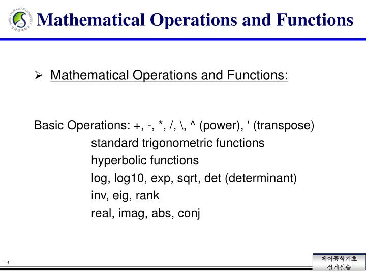 Mathematical operations and functions