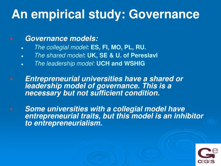 An empirical study: Governance