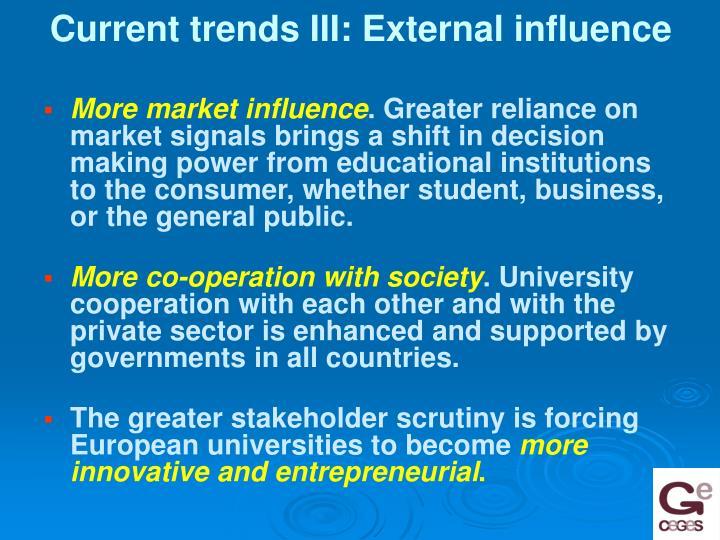Current trends III: External influence