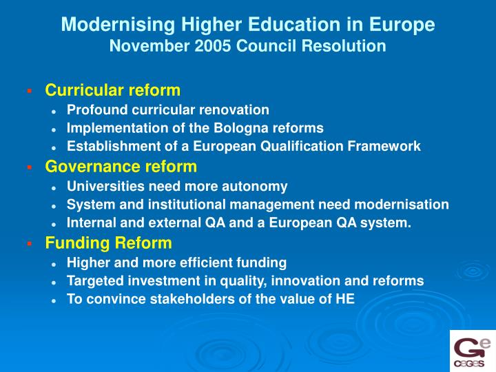 Modernising Higher Education in Europe
