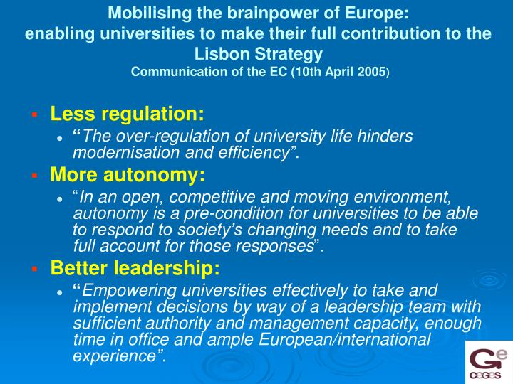 Mobilising the brainpower of Europe: