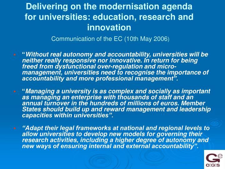 Delivering on the modernisation agenda