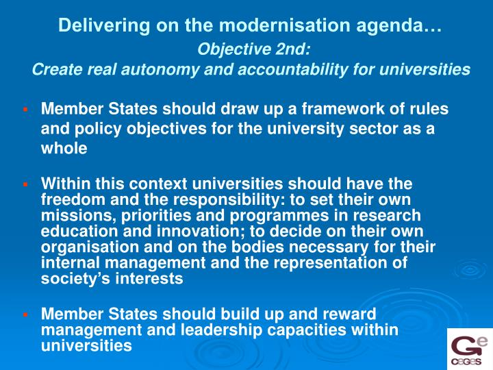 Delivering on the modernisation agenda…