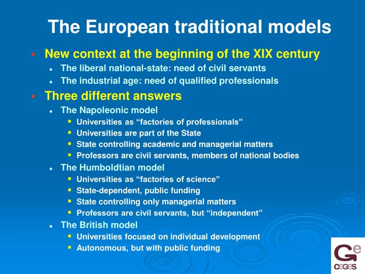 The European traditional models