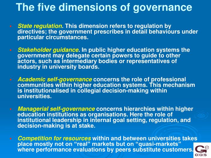 The five dimensions of governance