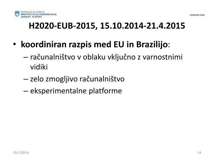 H2020-EUB-2015, 15.10.2014-21.4.2015