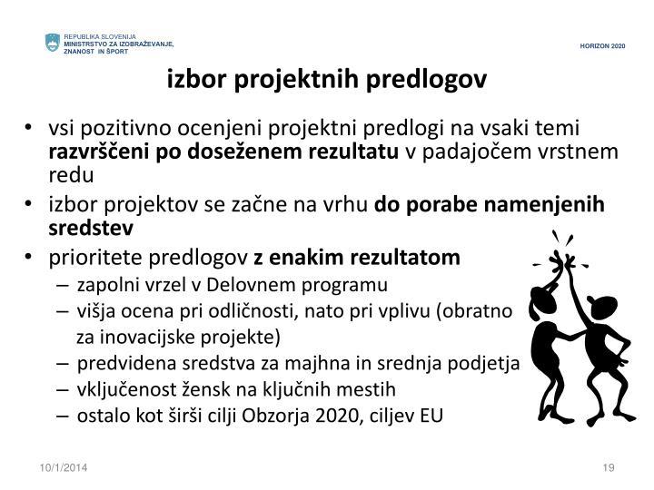 izbor projektnih predlogov