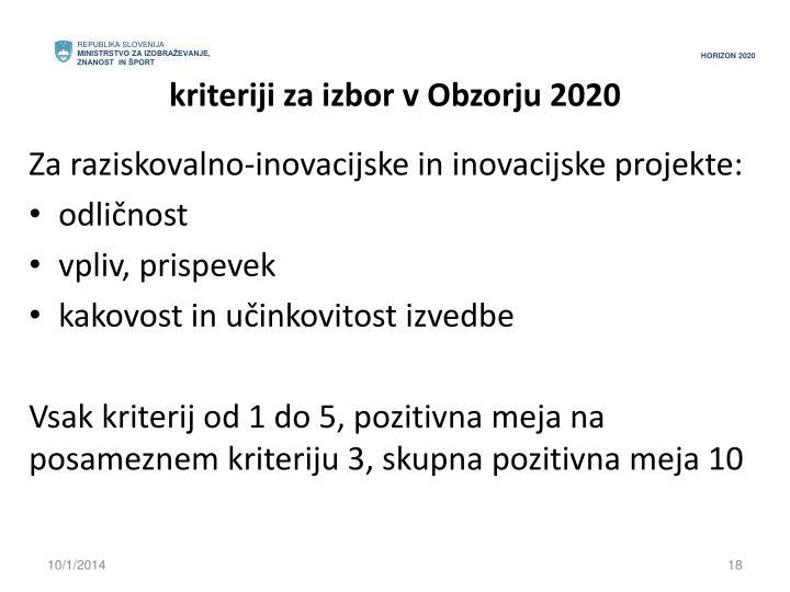 kriteriji za izbor v Obzorju 2020