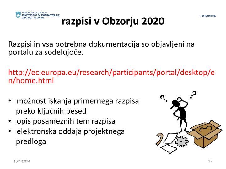 razpisi v Obzorju 2020