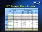 2003 business plan revenue