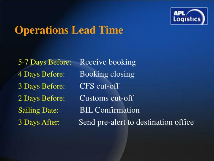Operations Lead Time