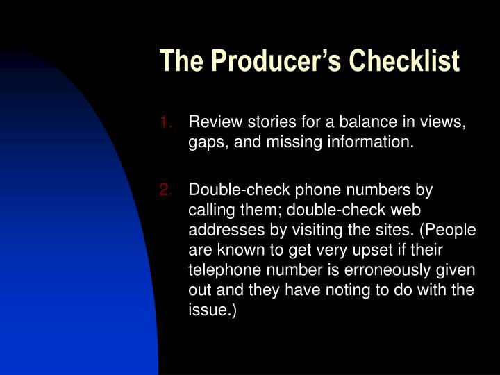 The Producer's Checklist