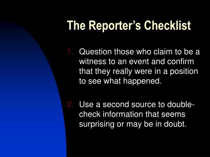 The Reporter's Checklist