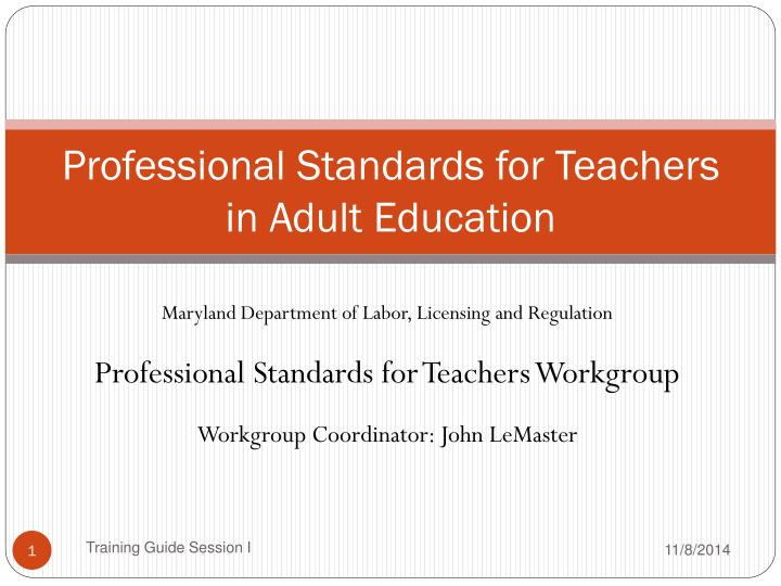Professional standards for teachers in adult education