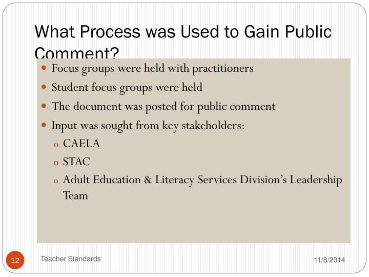 What Process was Used to Gain Public Comment?