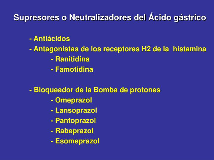 Supresores o Neutralizadores del Ácido gástrico