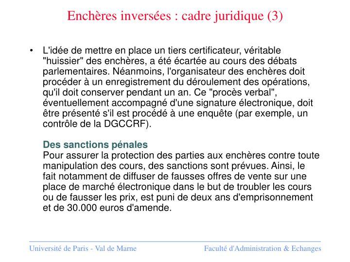 Enchères inversées : cadre juridique (3)