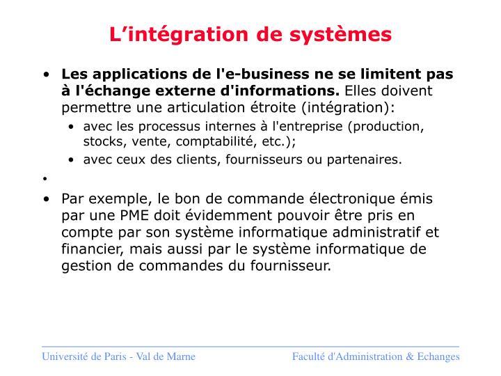 L'intégration de systèmes