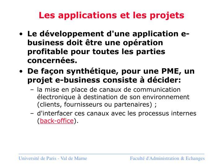 Les applications et les projets