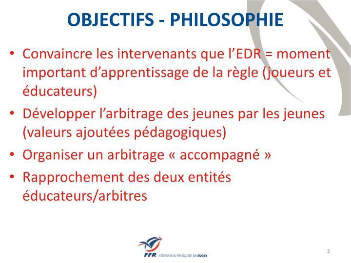 OBJECTIFS - PHILOSOPHIE