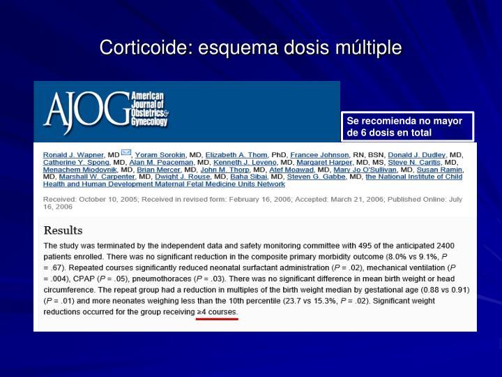 Corticoide: esquema dosis múltiple