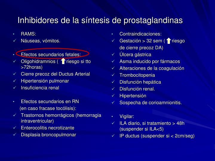 Inhibidores de la síntesis de prostaglandinas