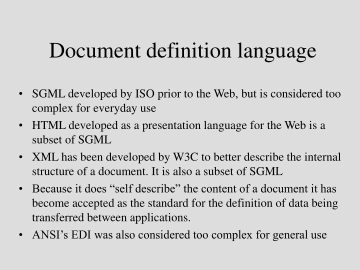 Document definition language