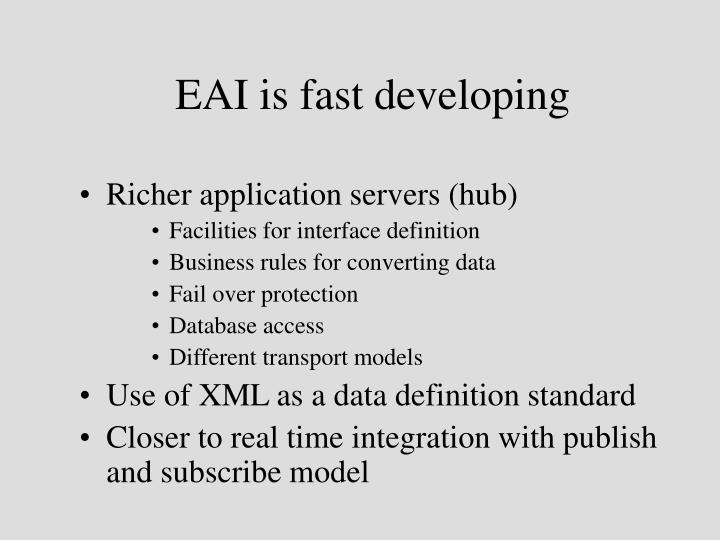EAI is fast developing
