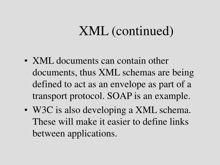 XML (continued)