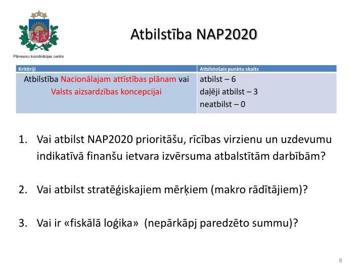 Atbilstība NAP2020