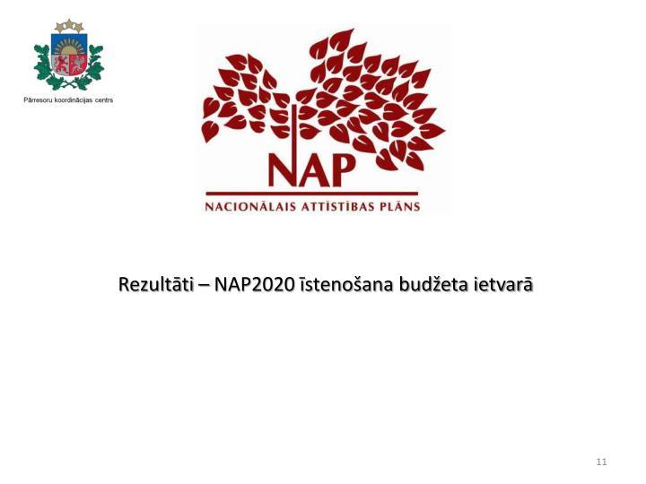 Rezultāti – NAP2020 īstenošana budžeta ietvarā