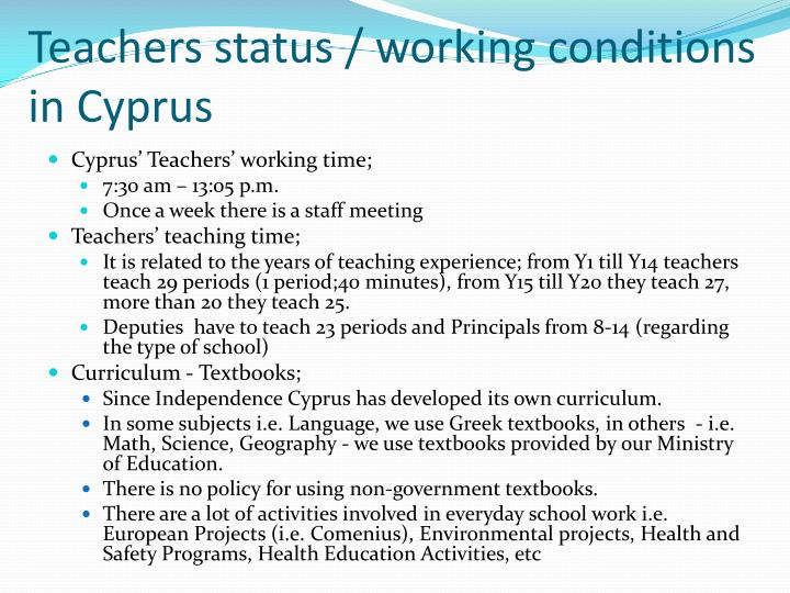 Teachers status / working conditions in Cyprus