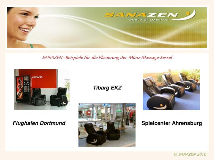 SANAZEN - Beispiele für  die Plazierung der  Münz-Massage-Sessel