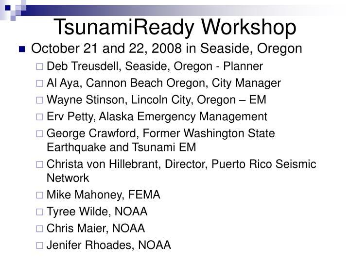 TsunamiReady Workshop