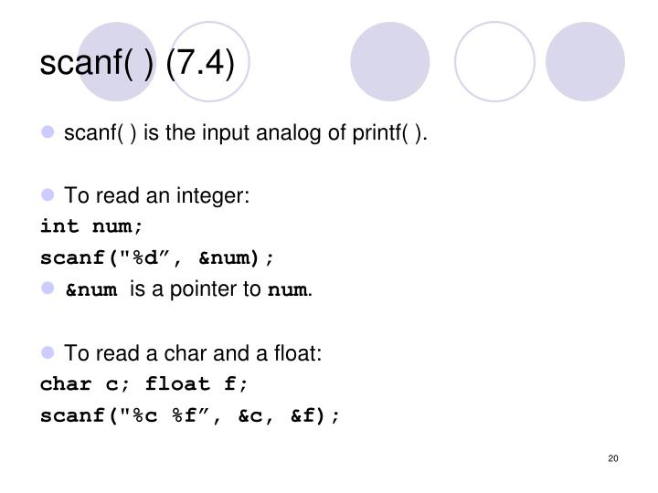 scanf( ) (7.4)