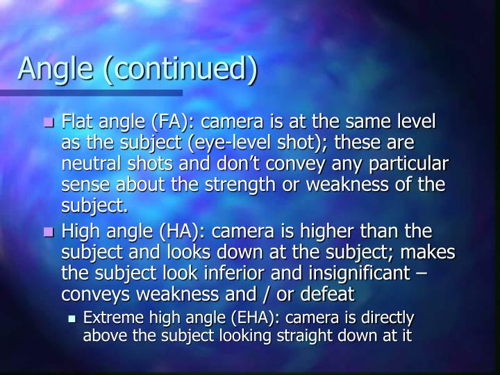 Angle (continued)