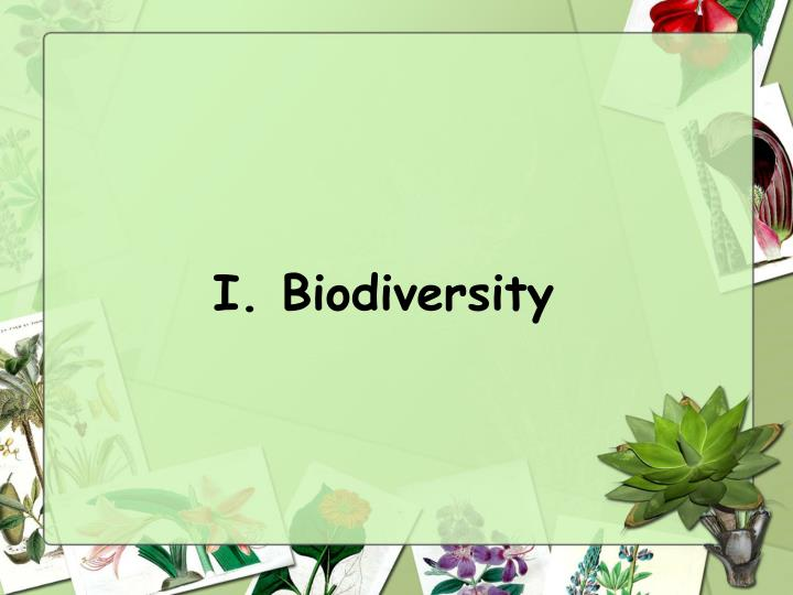 I. Biodiversity