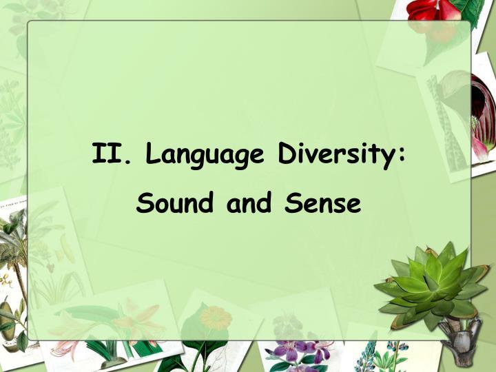 II. Language Diversity: Sound and Sense