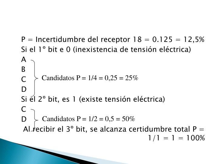 P = Incertidumbre del receptor 18 = 0.125 = 12,5%