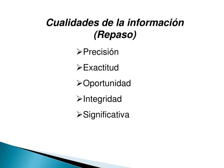 Cualidades de la información (Repaso)