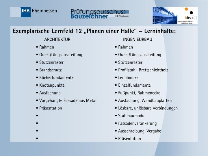 """Exemplarische Lernfeld 12 """"Planen einer Halle"""" – Lerninhalte:"""