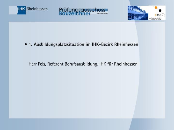 1. Ausbildungsplatzsituation im IHK-Bezirk Rheinhessen
